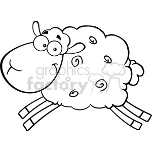 Royalty Free RF Clipart Illustration Black And White Sheep Cartoon Mascot Character Jumping clipart. Commercial use image # 395547