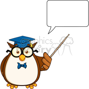 Royalty Free RF Clipart Illustration Wise Owl Teacher Cartoon Mascot Character With A Pointer And Speech Bubble clipart. Royalty-free image # 395557
