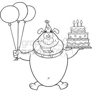 royalty free rf clipart illustration black and white birthday bulldog cartoon mascot character holding up a birthday cake with candles