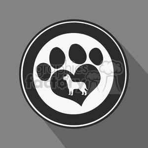 8255 Royalty Free RF Clipart Illustration Love Paw Print Black Circle Icon Modern Flat Design Vector Illustration