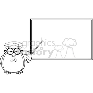 Royalty Free RF Clipart Illustration Black And White Wise Owl Teacher Cartoon Mascot Character In Front Of School Chalk Board clipart. Royalty-free image # 395607