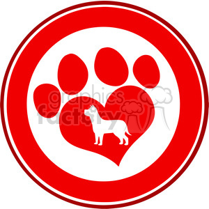 Royalty Free RF Clipart Illustration Love Paw Print Red Circle Banner Design With Dog Silhouette clipart. Commercial use image # 395617