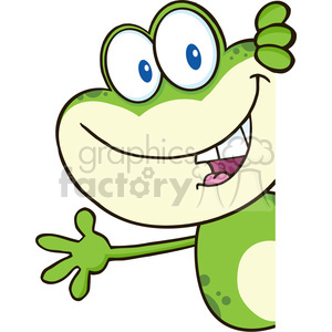 7257 royalty free rf clipart illustration cute frog cartoon mascot character looking around a blank sign and waving