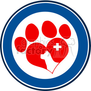 Royalty Free RF Clipart Illustration Veterinary Love Paw Print Blue Circle Banner Design With Dog Head clipart. Commercial use image # 395657