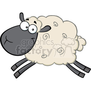 Royalty Free RF Clipart Illustration Black Head Sheep Cartoon Mascot Character Jumping clipart. Royalty-free image # 395667