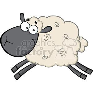 Royalty Free RF Clipart Illustration Black Head Sheep Cartoon Mascot Character Jumping clipart. Commercial use image # 395667