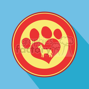 8254 Royalty Free RF Clipart Illustration Love Paw Print Red Circle Icon Modern Flat Design Vector Illustration clipart. Commercial use image # 395677