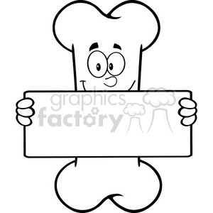 Royalty Free RF Clipart Illustration Black And White Funny Bone Cartoon Mascot Character Holding A Banner clipart. Commercial use image # 395697