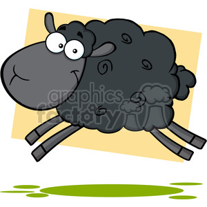 7107 Royalty Free RF Clipart Illustration Black Sheep Cartoon Mascot Character Jumping clipart. Royalty-free image # 395707