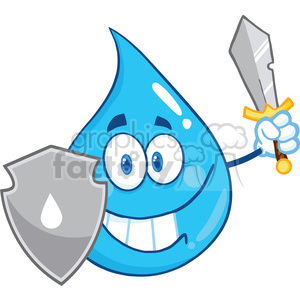 Royalty Free RF Clipart Illustration Water Drop Cartoon Mascot Guarder With Shield And Sword clipart. Royalty-free image # 395747
