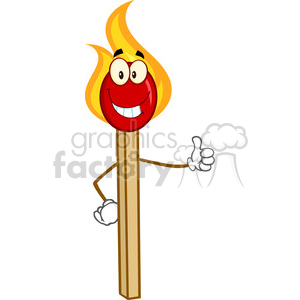Royalty Free RF Clipart Illustration Burning Match Stick Cartoon Mascot Character Showing Thumbs Up clipart. Commercial use image # 395757