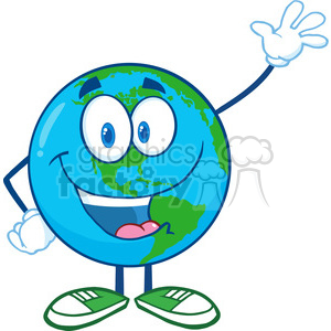 Royalty Free RF Clipart Illustration Earth Cartoon Mascot Character Waving For Greeting clipart. Royalty-free image # 395767