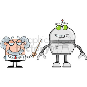 Royalty Free RF Clipart Illustration Funny Scientist Or Professor Shows His Pointer A Big Robot clipart. Royalty-free image # 395797