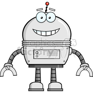 Royalty Free RF Clipart Illustration Smiling Robot Cartoon Character clipart. Commercial use image # 395817