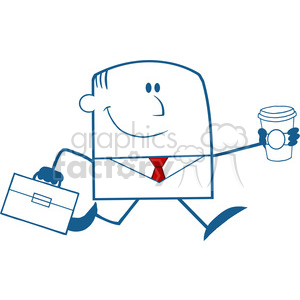 Royalty Free RF Clipart Illustration Lucky Businessman Running To Work With Briefcase And Coffee Monochrome Cartoon Character clipart. Royalty-free image # 395827