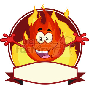 Royalty Free RF Clipart Illustration Fire Cartoon Mascot Label clipart. Commercial use image # 395877