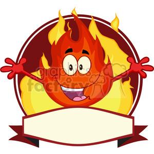 Royalty Free RF Clipart Illustration Fire Cartoon Mascot Label