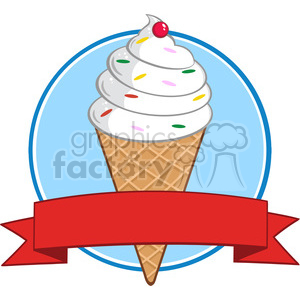 Royalty Free RF Clipart Illustration Ice Cream Cone Circle Banner clipart. Commercial use image # 395917
