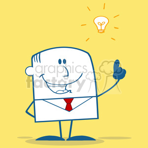 Royalty Free RF Clipart Illustration Happy Businessman With A Bright Idea Monochrome Cartoon Character On Yellow Background clipart. Royalty-free image # 395927