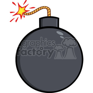 Royalty Free RF Clipart Illustration Cartoon Bomb With Lit Fuse clipart. Royalty-free image # 395957