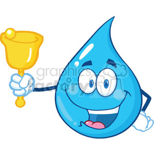 Water Drop Character Waving A Bell For Donation clipart. Royalty-free image # 395967