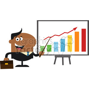 8359 Royalty Free RF Clipart Illustration African American Manager Pointing To A Growth Chart On A Board Flat Style Vector Illustration