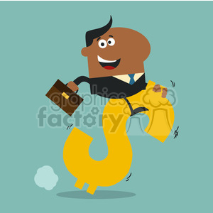 8290 Royalty Free RF Clipart Illustration Happy African American Manager Riding On A Hopping Dollar Symbol Flat Design Style Vector Illustration clipart. Commercial use image # 395999