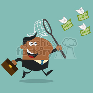 8298 Royalty Free RF Clipart Illustration African American Manager Chasing Flying Money With A Net Flat Design Style Vector Illustration clipart. Royalty-free image # 396009