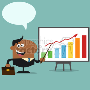 8360 Royalty Free RF Clipart Illustration African American Manager Pointing To A Growth Chart On A Board Flat Style Vector Illustration With Speech Bubble clipart. Commercial use image # 396019