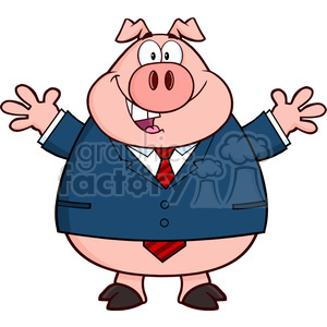 Royalty Free RF Clipart Illustration Businessman Pig Cartoon Mascot Character With Open Arms clipart. Royalty-free image # 396029