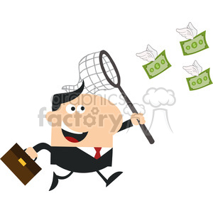 8295 Royalty Free RF Clipart Illustration Manager Chasing Flying Money With A Net Flat Design Style Vector Illustration clipart. Commercial use image # 396039