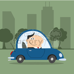 8264 Royalty Free RF Clipart Illustration Smiling Manager Driving Car To Work In Modern Flat Design Vector Illustration clipart. Royalty-free image # 396048