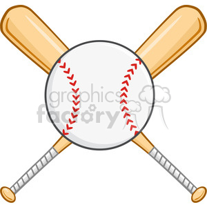 Crossed Baseball Bats And Ball clipart. Royalty-free image # 396088