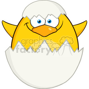 8621 Royalty Free RF Clipart Illustration Surprise Yellow Chick Cartoon Character Out Of An Egg Shell Vector Illustration Isolated On White clipart. Commercial use image # 396108