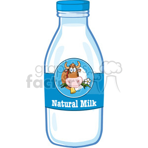 Royalty Free RF Clipart Illustration Milk Bottle With Cartoon Label And Text clipart. Commercial use image # 396168