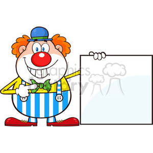 Royalty Free RF Clipart Illustration Smiling Clown Cartoon Character Showing A Blank Sign clipart. Royalty-free image # 396178