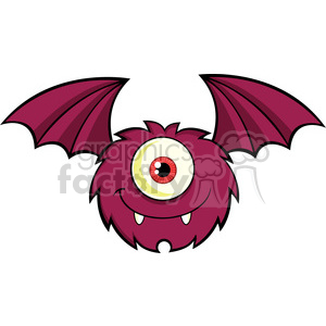 8909 Royalty Free RF Clipart Illustration Smiling Furry One Eyed Monster Cartoon Character Flying Vector Illustration Isolated On White clipart. Royalty-free image # 396198