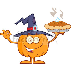 8894 Royalty Free RF Clipart Illustration Smiling Witch Pumpkin Cartoon Character Holding Up A Pie Vector Illustration Isolated On White