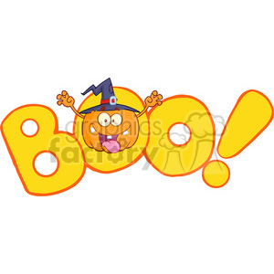 Royalty Free RF Clipart Illustration Boo Text With Scaring Halloween Pumpkin With A Witch Hat clipart. Royalty-free image # 396218
