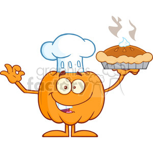 Royalty Free RF Clipart Illustration Chef Pumpkin Mascot Character Holding Perfect Pie clipart. Royalty-free image # 396228