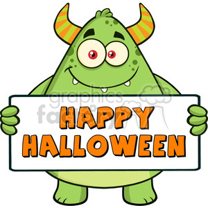 8935 Royalty Free RF Clipart Illustration Smiling Horned Green Monster Cartoon Character Holding Happy Halloween Sign Vector Illustration Isolated On White