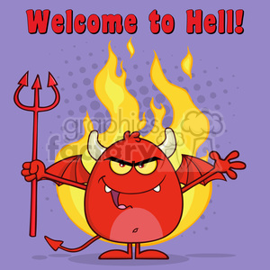 8965 Royalty Free RF Clipart Illustration Evil Red Devil Cartoon Character Character Holding A Pitchfork Over Flames Vector Illustration With Text