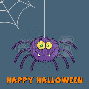 8956 Royalty Free RF Clipart Illustration Smiling Purple Halloween Spider Cartoon Character On A Web With Text Vector Illustration Greeting Card clipart. Royalty-free image # 396268
