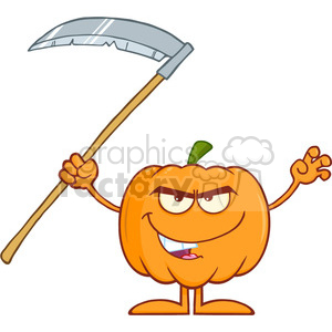 Royalty Free RF Clipart Illustration Scaring Halloween Pumpkin With Scythe Cartoon Mascot Character clipart. Commercial use image # 396278