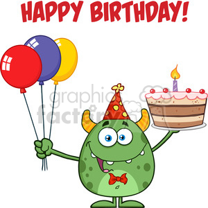 8917 Royalty Free RF Clipart Illustration Cute Green Monster Holding Up A Colorful Balloons And Birthday Cake Vector Illustration Isolated On White With Text