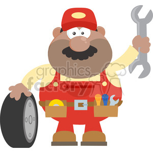 8559 Royalty Free RF Clipart Illustration Smiling African American Mechanic Cartoon Character With Tire And Huge Wrench Flat Syle Vector Illustration Isolated On White clipart. Commercial use image # 396328