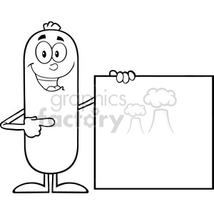8487 Royalty Free RF Clipart Illustration Black And White Sausage Cartoon Character Pointing To A Blank Sign Vector Illustration Isolated On White clipart. Commercial use image # 396350