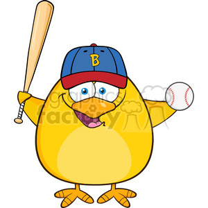 8614 Royalty Free RF Clipart Illustration Baseball Yellow Chick Cartoon Character Swinging A Baseball Bat And Ball Vector Illustration Isolated On White clipart. Royalty-free image # 396384