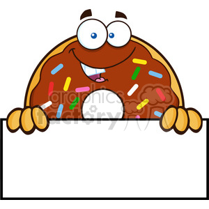 8689 Royalty Free RF Clipart Illustration Chocolate Donut Cartoon Character With Sprinkles Over A Sign Vector Illustration Isolated On White clipart. Royalty-free image # 396408