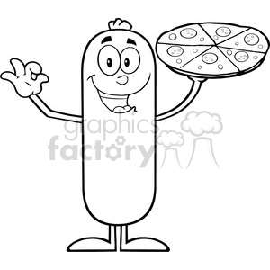 8479 Royalty Free RF Clipart Illustration Black And White Funny Sausage Cartoon Character Holding A Pizza Vector Illustration Isolated On White clipart. Royalty-free image # 396422